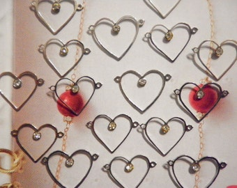 16 Vintage Silverplated Heart Pendants with Rhinestone