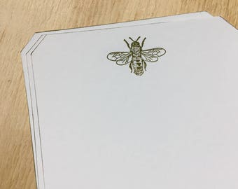 bee stationery, bee note cards, vintage inspired flat note cards and envelopes, stationery set, bee
