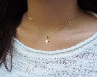 Tiny Hummingbird Necklace, Dainty Rose Gold Hummingbird Necklace, Sterling Silver Hummingbird Necklace, Gold Hummingbird Necklace