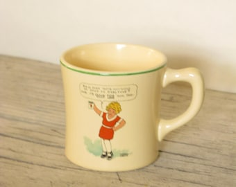 Vintage Mug with Orphan Annie from The Wander Company, Makers of Ovaltine, Made in the 1930's, Vintage Advertising, Cup with Annie Red Dress
