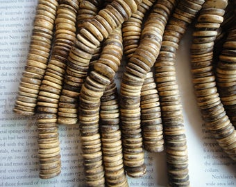 15mm tumbled coconut heishi beads,  natural color, 15.5 inch.