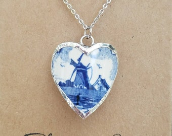 Blue Delft, Broken china jewelry, broken china necklace, antique, broken plate, soldered pendant, gift for mom, grandma, something blue