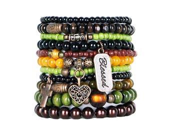 Beaded Bracelets Set of 11 Stretch Bracelets Bohemian Themed Stack with Copper Tone Charms