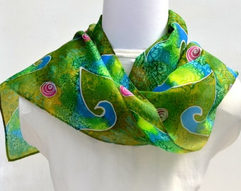 Hand Painted Silk Scarf, Silk Scarf Women, 63 x 11 inches, Made in Australia, Wearable Art, Gift for Her, SallyAnnesSilks  HP35