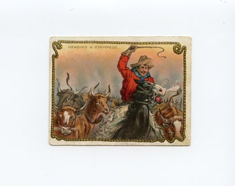 Antique Hassan Corktip Cigarette Trade Card Cowboy Heading a Stampede of Long Horn Cattle 1909 American Tobacco Company - 7918Pc