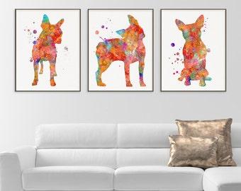 Boston Terrier Watercolor Art Print, Boston Terrier Painting, Set of 3 Prints, Boston Terrier Wall Art, Boston Terrier Wall Decor, Dog Lover