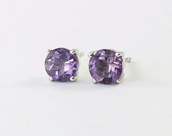 Amethyst stud earrings Sterling silver 6mm amethyst gemstone earrings February birthstone jewelry