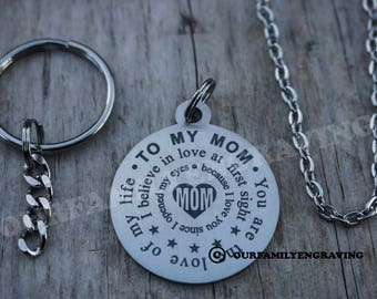 To my Mom love at first sight keychain necklace pendant
