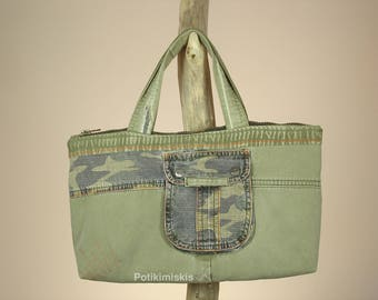 Recycled jeans bag, jeans bag, recycled denim bag with handles, bag with handles, denim bag