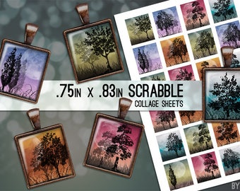 Moonlight Trees Collage Sheet Digital Scrabble Tile Images .75x.83 on 4x6 and 8.5x11 Download Sheets for Glass or Resin Pendants E0002