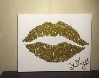 16x20 Handmade Gold Glitter Lips