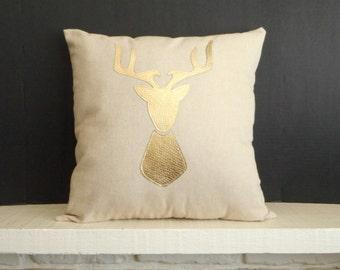 Deer Pillow Cover , Metallic Gold Deer Head, Antler pillow, stag silhouette, pillow case
