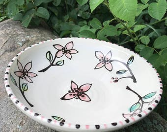 Pink Wildflower Watercolor Bowl by Sweetpea Cottage Pottery cream and pink and brown use hot or cold