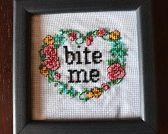 Bite Me Floral Cross Stitch