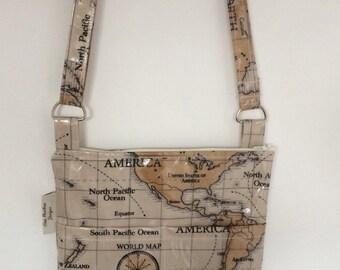 Messenger Bag, cross body bag, crossbody bag, shoulder bag, festival bag, World maps Oilcloth