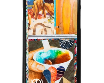 NEW iPhone 7/7+ Case,  Aloha Drops, Hawaii, Shave Ice, Surf, Surf Boards, Hula Girls, Beach, Art, Avail. with Black or White case color