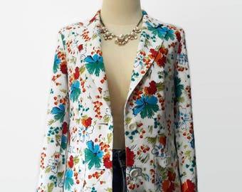Vintage 90s Floral Blazer Fabulous Vintage Floral Blazer Women's Jacket 1990s Colorful Boho Blazer Floral Print Top Floral Print Cardigan