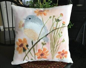 Pillow, bird pillow, bird in wildflowers, Spring throw pillow, gift pillow, small nature pillow, watercolor pillow, watercolor bird pillow