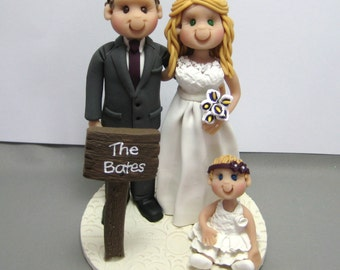 DEPOSIT for a Custom made Polymer Clay Family Wedding Cake Topper