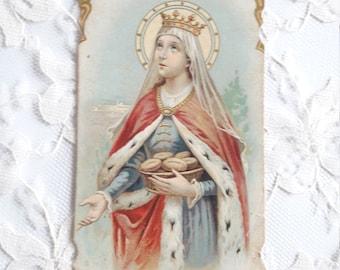 St Elisabeth Elizabeth Santa Elisabetta Regina d'Hungheria Holy Card