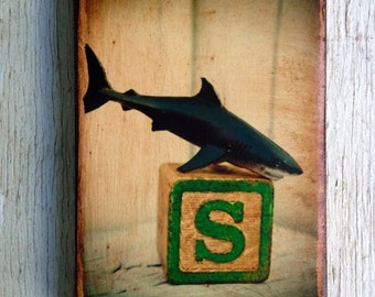 Vintage Toy S is for Shark Art/Photo - Wall Art 4x6