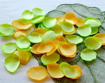 Satin leaf appliques, rose petals, fabric embellishments, fabric petals, wedding petals, silk petals bulk (50pcs)- NEON LIME and YELLOW