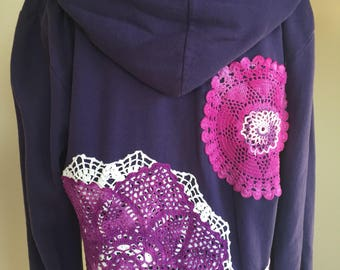 Upcycled clothing, funky, deep purple gypsy hoodie, with vintage, crocheted mandalas