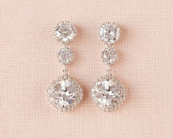 Cushion Cut Bridal Earrings, Crystal wedding earrings, Swarovski, Square Halo, Bridesmaid earrings, Wedding Jewellery,  Alexa Earrings