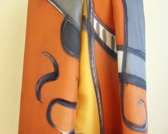 Hand Painted Silk Scarf. Hand Painted Silk Shawl. 71x18 in. Wedding Gift. Giveaways. Ooak scarf. Orange-Yellow-Black-Grey silk scarf.