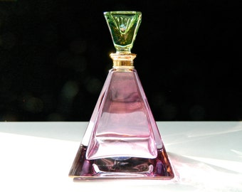 Vintage Perfume Bottle Art Deco Lead Crystal Royal Ltd Art Glass Pyramid Amethyst Purple Mint Green Stopper Perfect 22k Gold Neck Beautiful