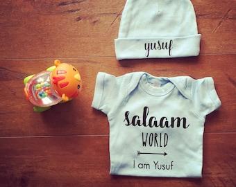 Salaam World, I am Customizable bodysuit Baby Grow Vest/ Salam World coming home outfit/Muslim Baby / Muslim Gift / Newborn Muslim