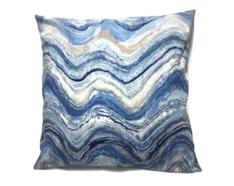 Decorative Pillow Cover Shades of Blue Taupe White Wave Design Same Fabric Front/Back Toss Throw Accent 18x18 inch x