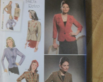 Simplicity 4081 Misses (Size K5 8,10,12,14,16) 1940s lined jacket w/front variations.Pattern included for B,C,D cup