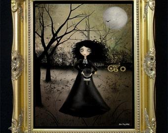 Steampunk Goth Girl Art Print -- Steampunk Alchemy -- Clockworks - Dragonfly