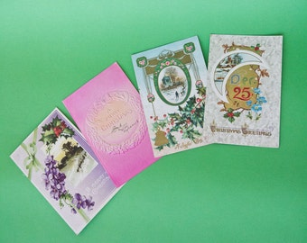 Turn of the Century Embossed Antique Christmas Postcard Lot of 4