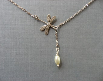 Silver Dragonfly and Pearl Lariat Necklace, Pendant Necklace, Very Dainty