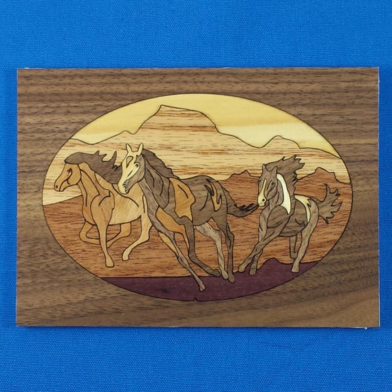 """Marquetry Project Kit - 5""""x 7"""" Mustangs"""