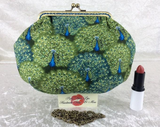 Peacocks small frame handbag purse bag fabric clutch shoulder bag frame purse kiss clasp bag Handmade Birds