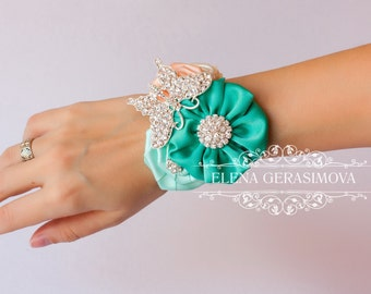 Corsage wrist Bracelet for mint peach bouquet