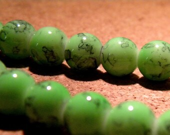 speckled glass - 10 mm green marble black PF22 5 10 beads