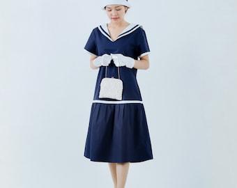 1920s sailor dress in navy and white, blue 20s day dress, nautical flapper dress, 1920s women clothing, blue Gatsby dress, Navy blue dress