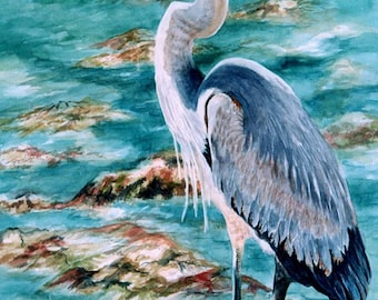 Great Blue Heron Watercolor 8x12 print Florida Shorebird Print GiClee watecolorsNmore Coastal