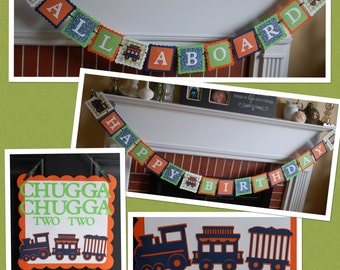 Train Birthday Party Package, Happy Birthday Banner, All Aboard Banner, Door Sign, Navy Lime Orange