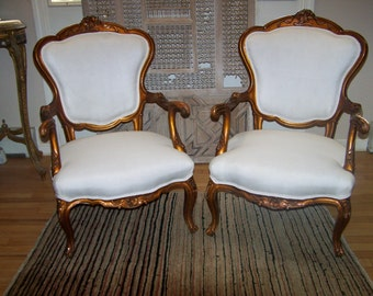 Chairs,Set Of Vintage Louis XIV Style Arm Chairs, French Style European  Chairs,shabby Chic Chairs,great Pair Of Parlor Chairs