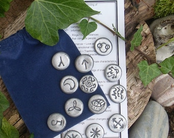 13 Witches Runes - Divination tool - Oracle - Runes SILVER / BLACK shimmer polymer clay set - Witch Runes