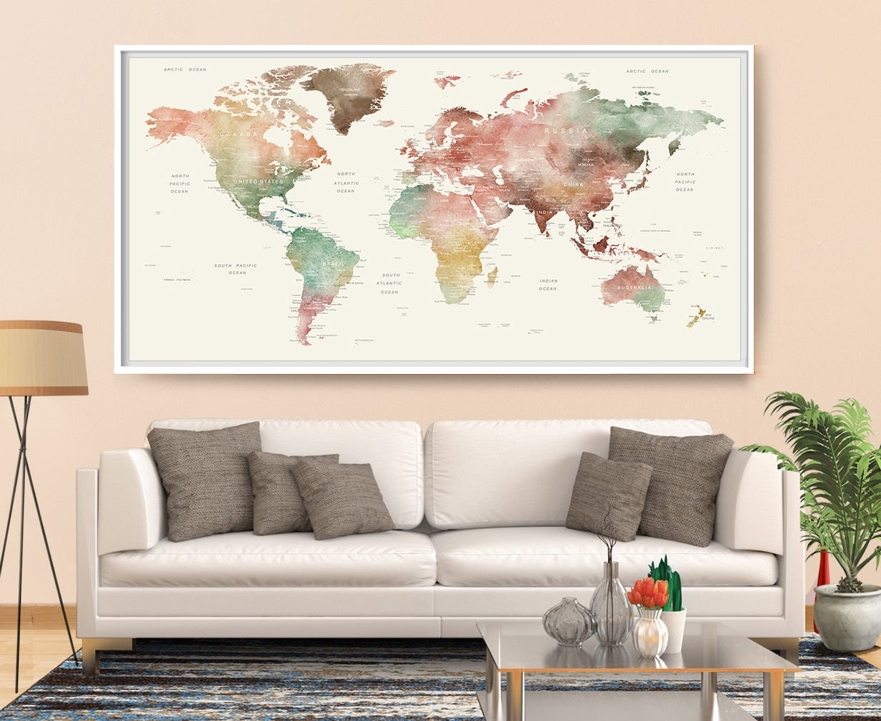monde carte murale art aquarelle carte monde carte du monde. Black Bedroom Furniture Sets. Home Design Ideas