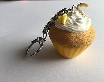 lemon cupcake keychain