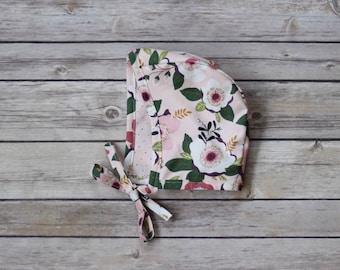 Bonnets - baby bonnets - rose floral newborn bonnet - toddler bonnets - pilot hat - newborn hats - floral bonnet - bonnets for girls