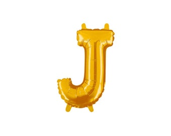 Letter J Gold Foil (Mylar) Balloons - 14 Inch Air Fill Only - Hanging Decorations Party Supplies