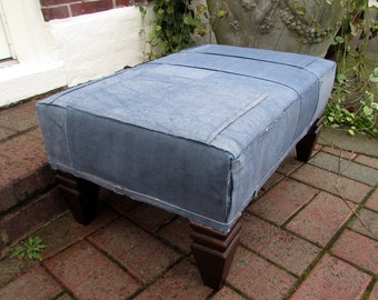 BLUE TARP repurposed canvas tarps cut re sewn in modern patchwork- ottoman/tuffet/furniture